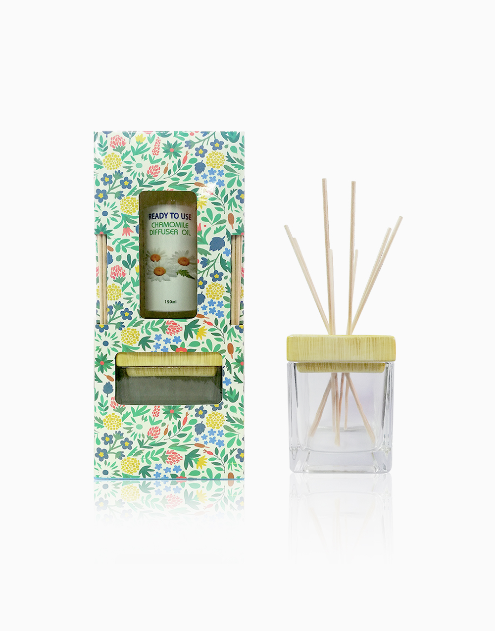 Floral Reed Diffuser Gift Set Chamomile Scent with Free POREX Reed Sticks by Pure Bliss