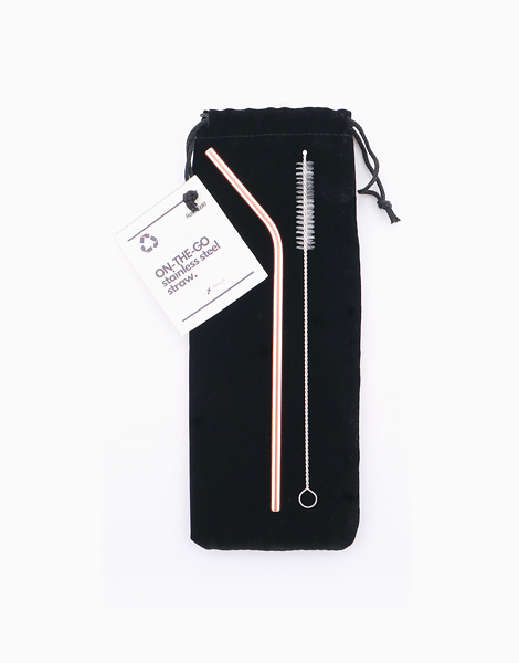 Reusable On-the-Go Stainless Steel Straw Set by TRVLR | Rose Gold