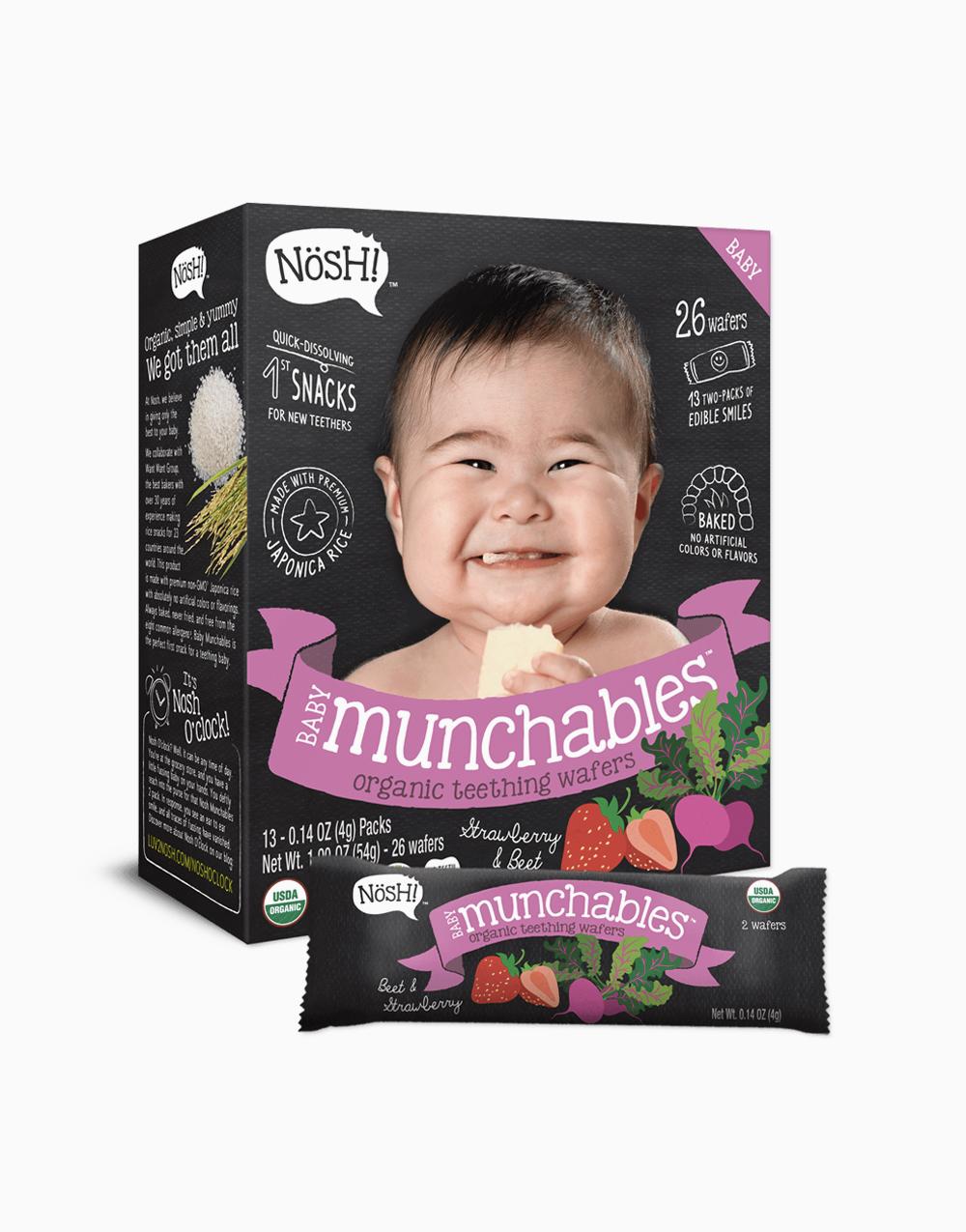 Strawberry Beet Organic Vegan Baby Munchables  by Nosh!
