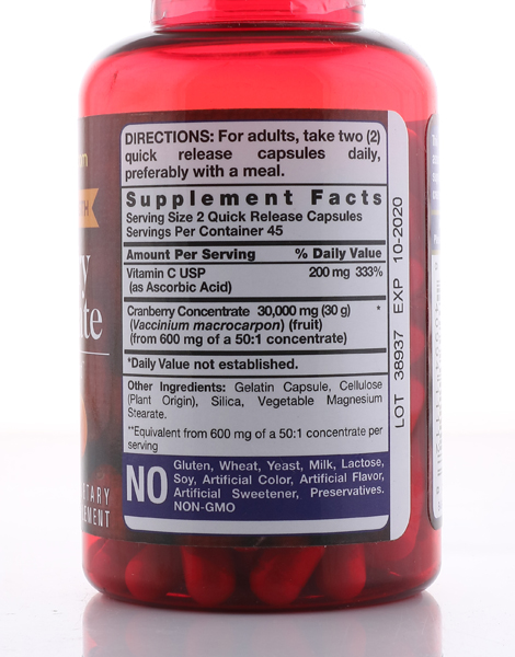 Ultra Triple Strength Cranberry: 30,000 mg Plus Vitamin C (90 Capsules) by Piping Rock