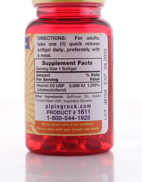High Potency Vitamin D3 5,000 IU (100 Softgels) by Piping Rock